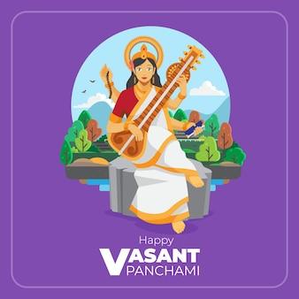 Feliz tarjeta de felicitación de ilustración plana vasant panchami
