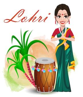 Feliz tarjeta de felicitación de lohri con hermosa niña