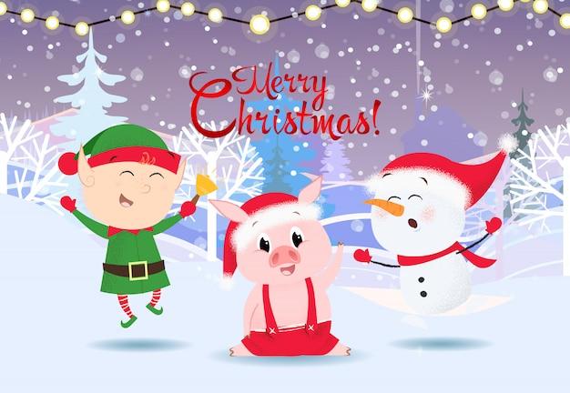 Feliz tarjeta de felicitación de navidad. lindo muñeco de nieve