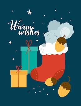 Feliz tarjeta de felicitación de navidad. rata, ratón, ratones, bebé con caja de regalo