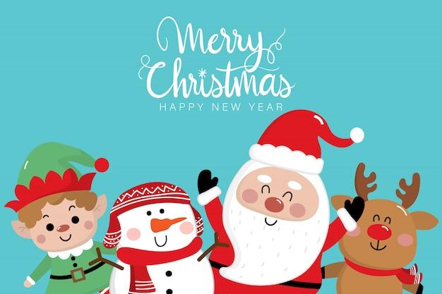 Feliz tarjeta de felicitación de navidad con santa claus