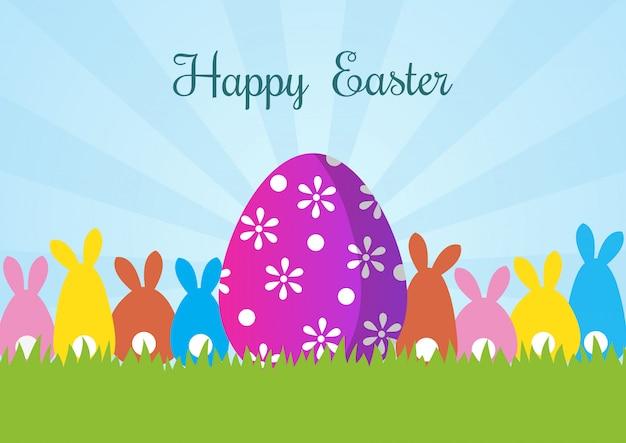 Feliz tarjeta de felicitación de pascua con conejo y huevos