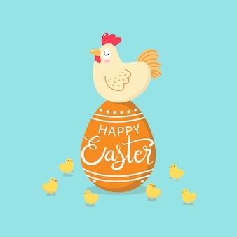 Feliz tarjeta de felicitación de pascua con gallina, pollito y huevos