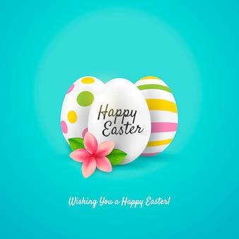 Feliz tarjeta de felicitación de pascua. huevos de colores. ilustración vectorial