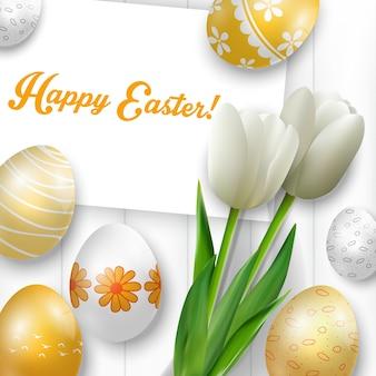 Feliz tarjeta de felicitación de pascua con huevos de colores, tulipanes blancos
