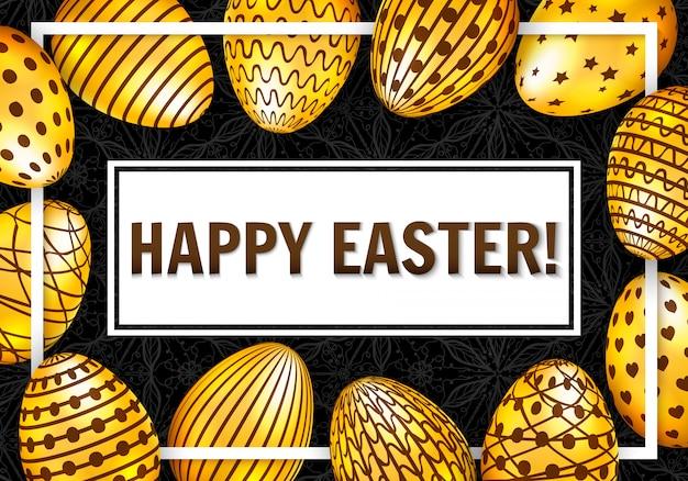 Feliz tarjeta de felicitación de pascua con huevos de oro sobre fondo oscuro. ilustración vectorial