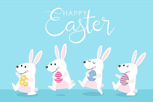 Feliz tarjeta de felicitación de pascua con lindo conejito blanco, huevos coloridos