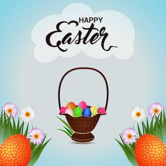 Feliz tarjeta de felicitación de pascua con lindo conejito de pascua y huevos