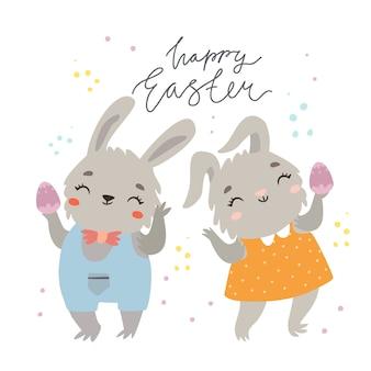 Feliz tarjeta de felicitación de pascua con pareja de conejitos lindos