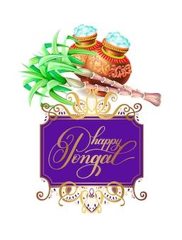 Feliz tarjeta de felicitación pongal al festival de la cosecha del sur de la india.