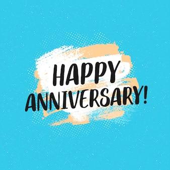 Feliz tarjeta de felicitación tipográfica de aniversario
