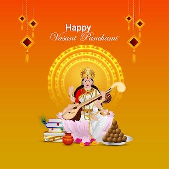Feliz tarjeta de felicitación de vasant panchami con mujer, libros y comida,
