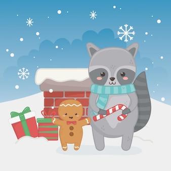 Feliz tarjeta de feliz navidad con carácter raccon
