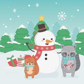 Feliz tarjeta de feliz navidad con muñeco de nieve y animales