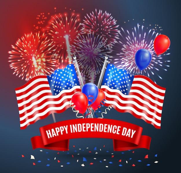 Feliz tarjeta festiva del día de la independencia con banderas nacionales de estados unidos globos y fuegos artificiales ilustración realista
