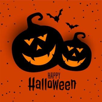 Feliz tarjeta del festival de halloween con dos calabazas y murciélagos