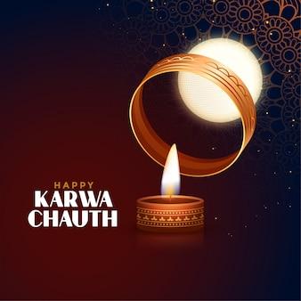 Feliz tarjeta del festival karwa chauth con luna llena y diya