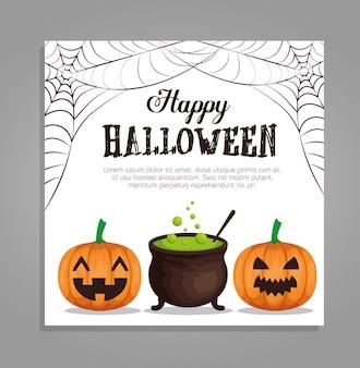 Feliz tarjeta de halloween con calabazas y caldero