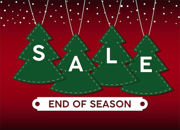 Feliz tarjeta de letras de venta de feliz navidad con pinos colgando ilustración