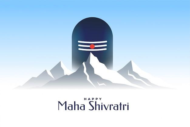Feliz tarjeta de maha shivratri con shivling y montaña