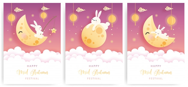 Feliz tarjeta de mediados de otoño con lindo conejito y pastel de luna.