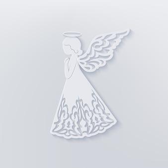 Feliz tarjeta de navidad con angel, alas ornamentales