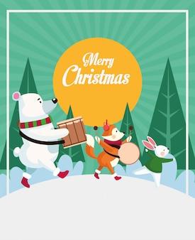 Feliz tarjeta de navidad con animales tocando instrumentos diseño ilustración vectorial