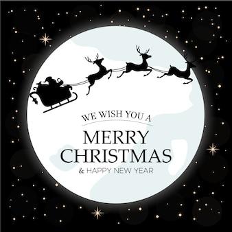 Feliz tarjeta de navidad cielo nocturno de invierno con luna y santa claus montando en una silueta de trineo sobre él