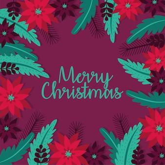 Feliz tarjeta de navidad con diseño de ilustración de vector de decoración de jardín de flores