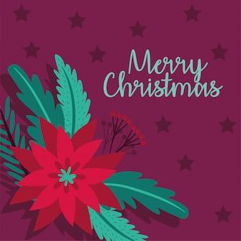 Feliz tarjeta de navidad con diseño de ilustración vectorial de flores