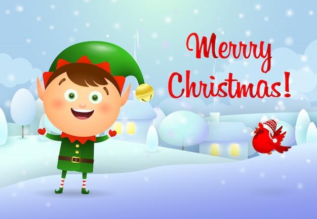 Feliz tarjeta de navidad con duende
