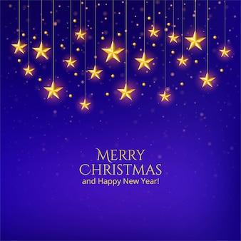 Feliz tarjeta de navidad con estrellas doradas