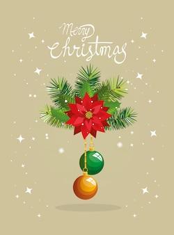 Feliz tarjeta de navidad con flores y bolas colgando