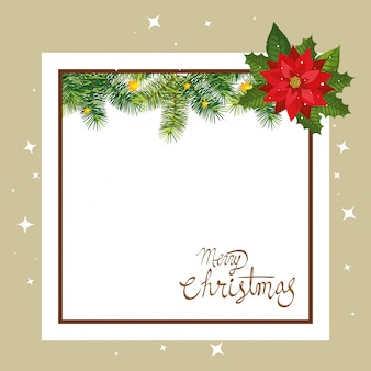 Feliz tarjeta de navidad con flores y marco cuadrado