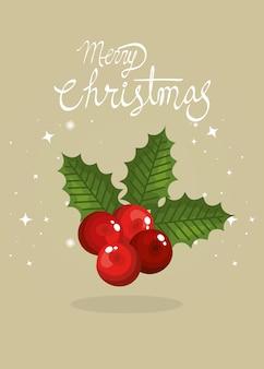 Feliz tarjeta de navidad con hojas y frutos tradicionales