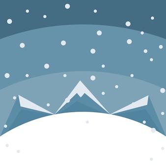 Feliz tarjeta de navidad de montañas en la nieve