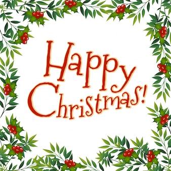 Feliz tarjeta de navidad con muérdago