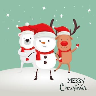 Feliz tarjeta de navidad con muñeco de nieve y animales