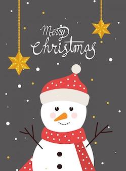 Feliz tarjeta de navidad con muñeco de nieve en el paisaje de invierno