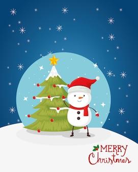 Feliz tarjeta de navidad con muñeco de nieve y pino