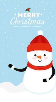 Feliz tarjeta de navidad con muñeco de nieve