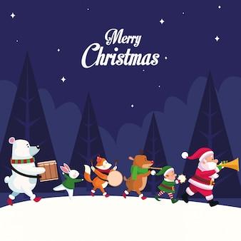 Feliz tarjeta de navidad con personajes tocando instrumentos diseño ilustración vectorial