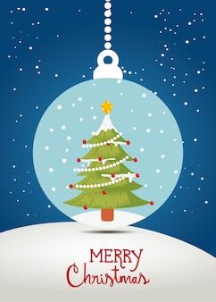 Feliz tarjeta de navidad con pino en bola decorativa