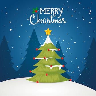 Feliz tarjeta de navidad con pino en paisaje de invierno