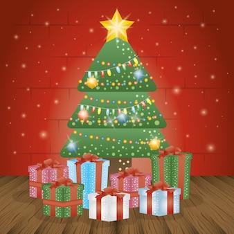 Feliz tarjeta de navidad con pino y regalos