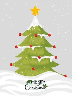 Feliz tarjeta de navidad con pino