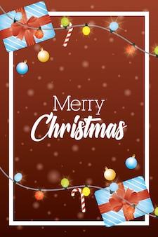 Feliz tarjeta de navidad con regalos y luces
