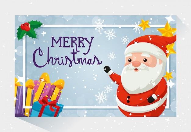 Feliz tarjeta de navidad con santa claus y decoración