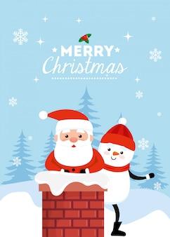 Feliz tarjeta de navidad con santa claus y muñeco de nieve en la chimenea