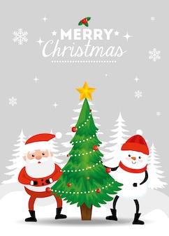 Feliz tarjeta de navidad con santa claus y muñeco de nieve en el paisaje de invierno